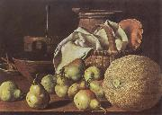 Melendez, Luis Eugenio Still-Life with Melon and Pears