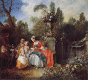 A Lady in a Garden Taking coffee with some Children