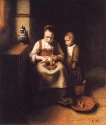 A Woman Scraping Parsnips,with a Child Standing by Her