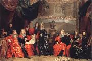 The provost and Municipal Magistrates of Paris Discussing the Celebration of Louis XIV-s Dinner at the hotel de Ville after his Recovery in 1687