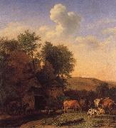 A Landscape with Cows,sheep and horses by a Barn