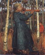 Trumpeting Gril in a Birch Wood