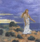 Pierre Puvis de Chavannes Woman on the Beach oil painting artist