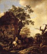 RUISDAEL, Jacob Isaackszon van The Outskirts of a Village,with a Horseman