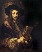 Rembrandt van rijn Portrait of a young madn holding a book oil painting reproduction
