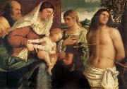 The Sacred Family with Holy Catalina, San Sebastian and an owner.the Holy