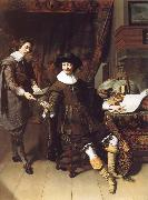 Thomas De Keyser Portrait of Constatijn Huygens and his clerk oil painting