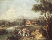 ZAIS, Giuseppe Landscape with a Group of Figures Fishing