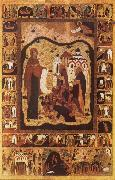 Our Lady of Bogolijubovo with Saint Zocime and Saint Savvatii and Scenes from their Lives