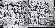 Relief from Gandhara with the-first preaching in first preaching in the deer camp-and the death of Buddha, Kushana.