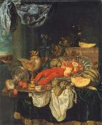 Abraham Hendrickz van Beyeren Coarse style life with lobster oil painting reproduction