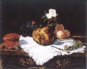 Brioche with flower and fruits