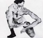 Egon Schiele Squatting male nude with stockings oil painting reproduction