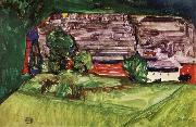 Egon Schiele Peasant Homestead in a Landscepe oil painting reproduction