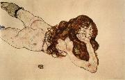 Egon Schiele Female Nude Lying on  Her Stomach oil painting reproduction