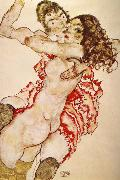 Egon Schiele Two Girls Embracing Each other oil painting on canvas