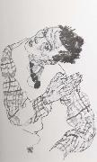 Egon Schiele Self Portrait with Checkered shirt oil painting reproduction