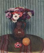 Still life with Anemones and Orange