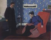Interior with red armchair and figure