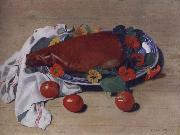 Still life with Ham and Tomatoes