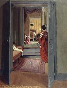 Interior with Woman in red