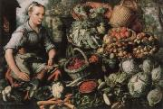 Joachim Beuckelaer Museum national market woman with fruits, Gemuse and Geflugel oil painting
