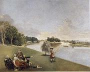 A View of the grounds of Hampton House with Mrs and Mrs Garrick taking tea