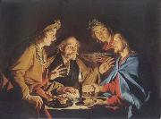 Matthias Stomer Christ in Emmaus oil painting