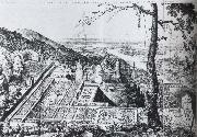 Bird-s-eye view of the Palatine garden at  Heidelberg