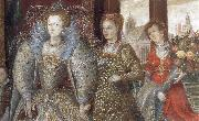 Queen Elizabeth i leads in Peace and Plenty from a Garden