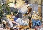 Arab or Arabic people and life. Orientalism oil paintings  445