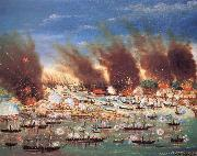 unknow artist Farragut-s Fleet Passing Fort Jackson and Fort St.Philip,Louisiana oil painting on canvas