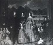Imperiale and his Family before the gardens of Villa di Sampierdarena