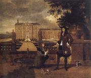 John Rose,the royal gardener,presenting a pineapple to Charles ii before a fictitious garden
