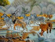 unknow artist Zebras 018 oil painting reproduction