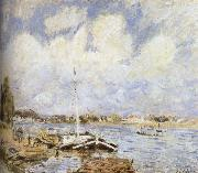 Alfred Sisley The boat on the sea oil painting reproduction
