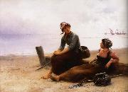 August Hagborg Repose pa beach oil painting reproduction
