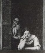 Bartolome Esteban Murillo Two Women at the window oil painting reproduction