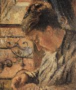 Camille Pissarro The Woman is sewing in front of the window oil painting reproduction