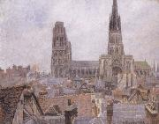 Camille Pissarro The Roofs of Old Rouen,Gray Weather oil painting reproduction