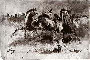 Untitled sketch of wild horses