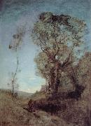 Corot Camille The Italian vill behind pines oil painting reproduction