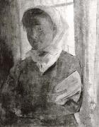 Young girl with a wihte scarf