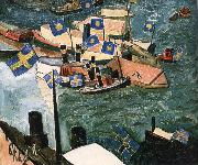 Isaac Grunewald The flag in Port oil painting
