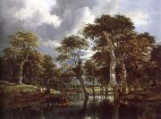 Jacob van Ruisdael Waterfall in a Hilly Wooded Landscape oil painting reproduction