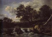 Jacob van Ruisdael Waterfall near oan Oak wood oil painting reproduction