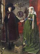 The Italian kopmannen Arnolfini and his youngest wife some nygifta in home in Brugge