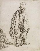 Beggar in a high cap,Standing and Leaning on a stick