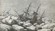 Erebus and Terror am riding out a tempest in packisen wonder Ross second travel 1842 to Antarctic Continent