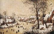BRUEGEL, Pieter the Elder Winter Landscape with Skaters and Bird Trap